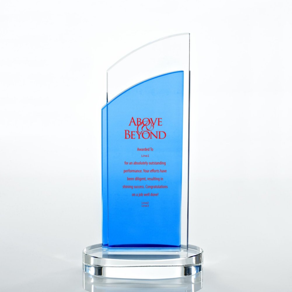 View larger image of Crystal Light Blue Accent Trophy - Double Pane