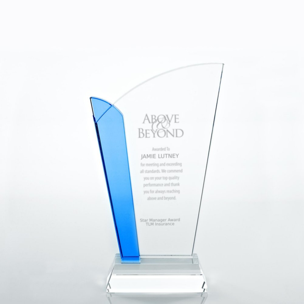 View larger image of Crystal Light Blue Accent Trophy - Straight Edge