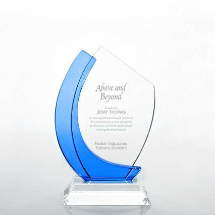 Crystal Light Blue Accent Trophy - Curved Edge
