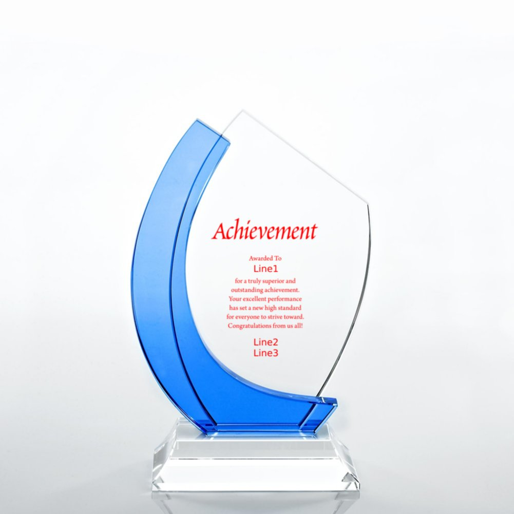 View larger image of Crystal Light Blue Accent Trophy - Curved Edge