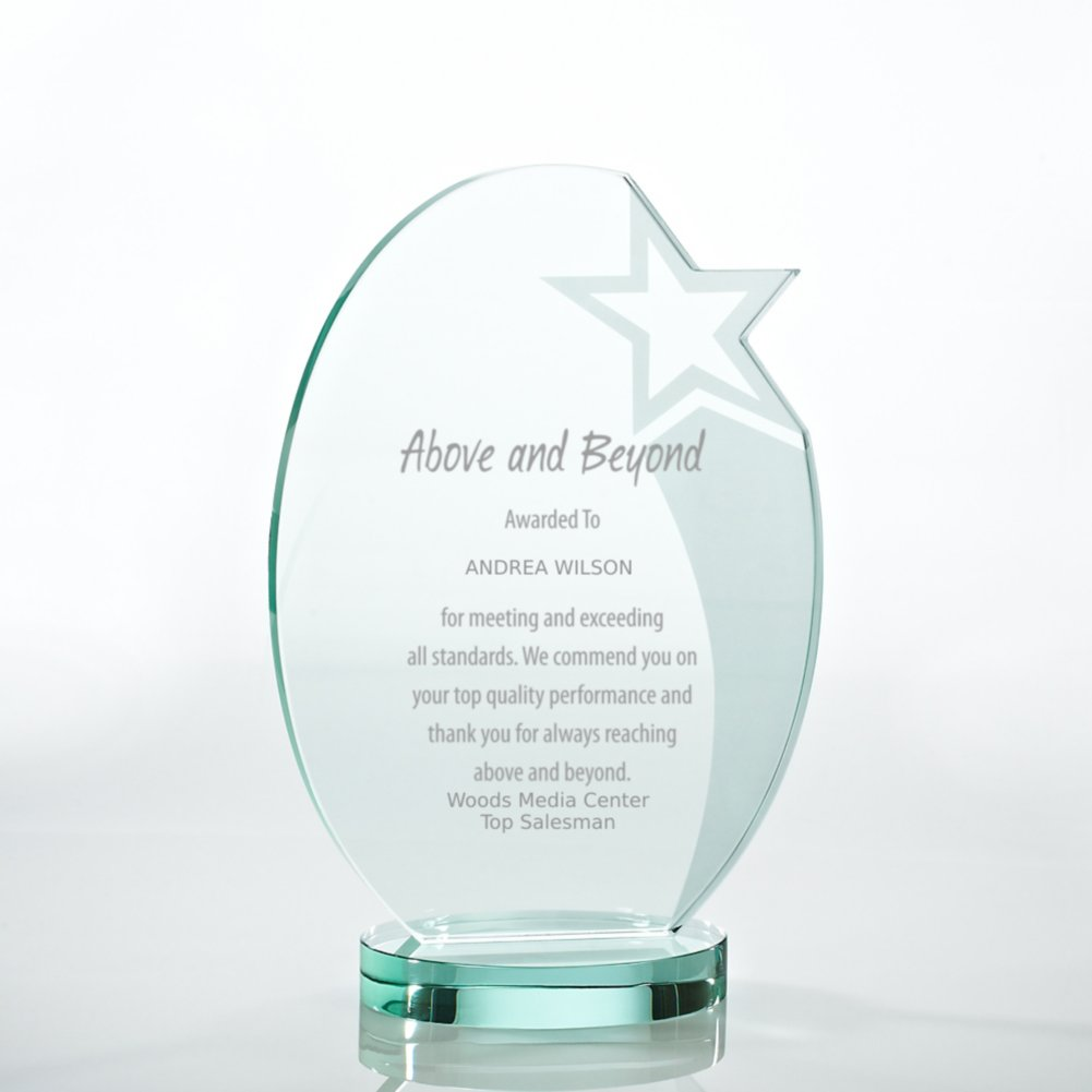 View larger image of Premium Jade Trophy - Etched Oval Star