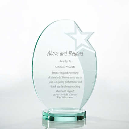 Premium Jade Trophy - Etched Oval Star