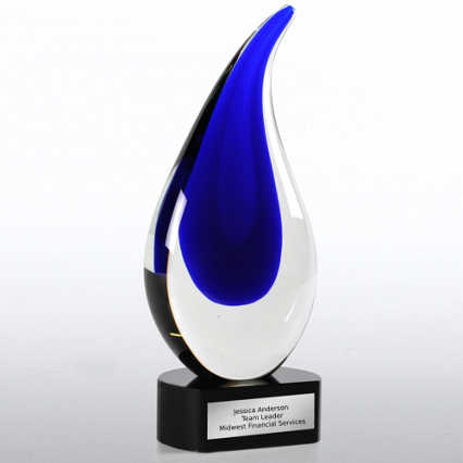 Art Glass Large Blue Teardrop Trophy