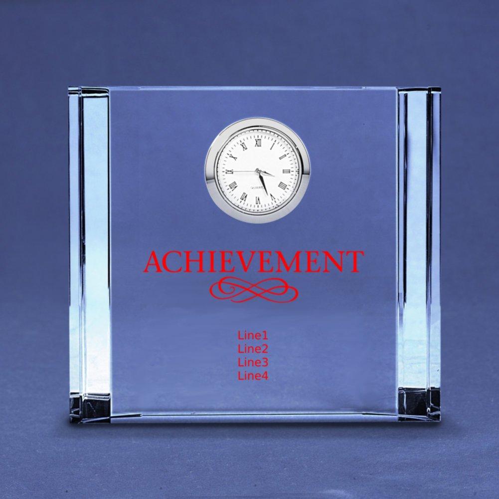 Silver Accent Crystal Award Clock - Medium