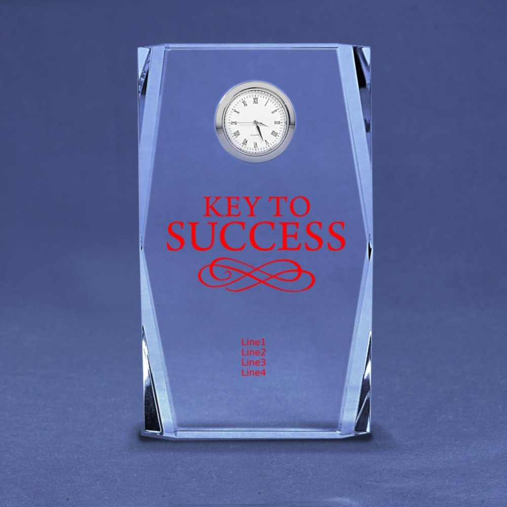 Silver Accent Crystal Award Clock - Tall