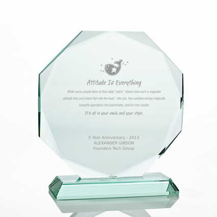 Premium Jade Character Trophy - Diamond Cut Round