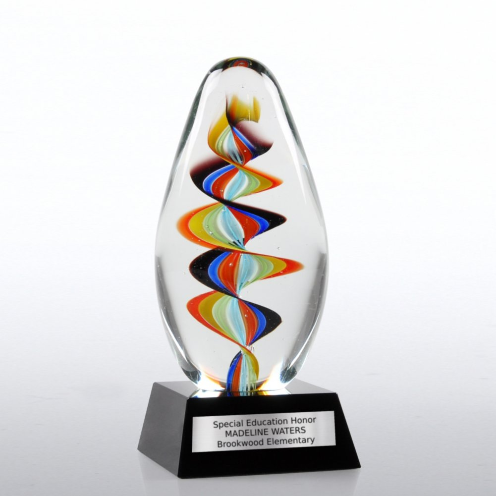 View larger image of Art Glass Trophy - Rainbow Swirl
