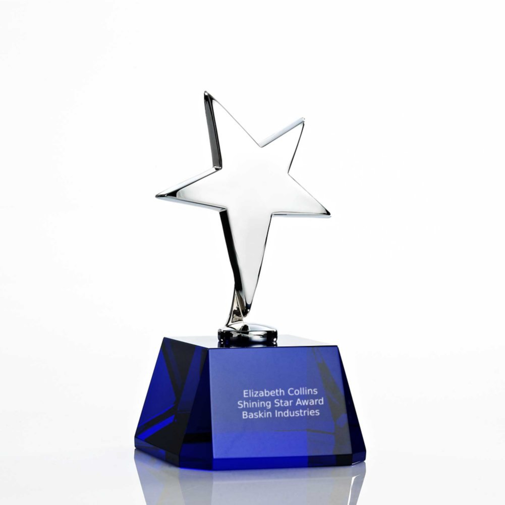 View larger image of Silver Star Accent Trophy - Blue Crystal Base