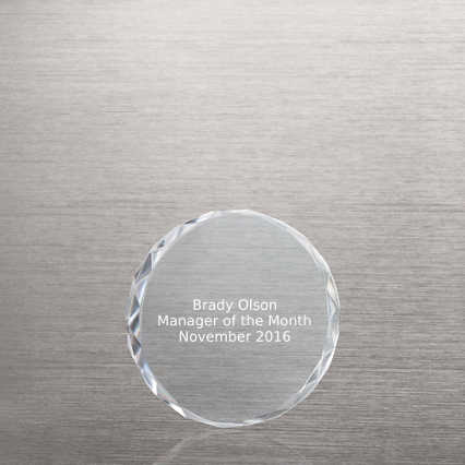 Radiant Crystal Paperweight - Small Circle
