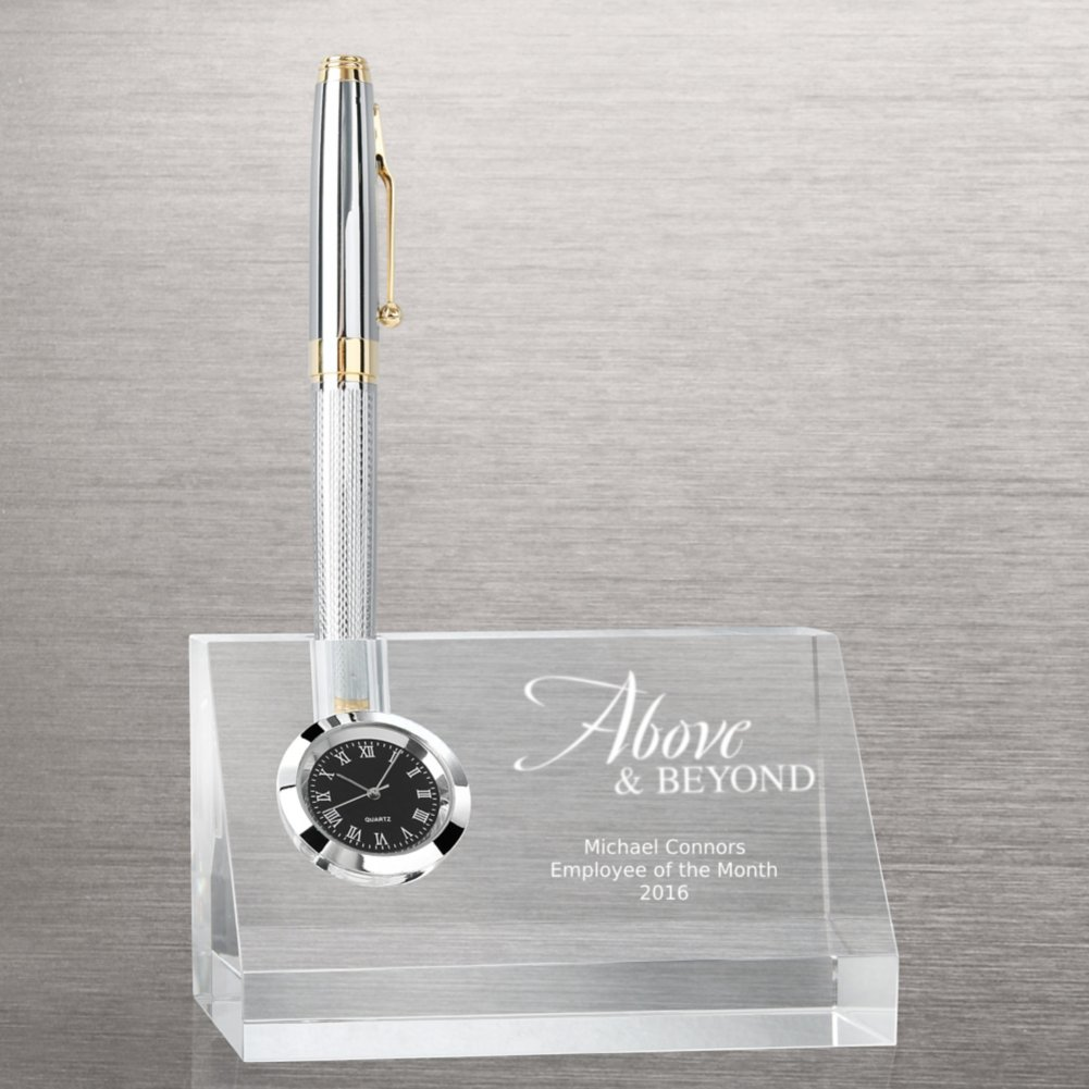 View larger image of Contemporary Crystal Desktop Clock with Pen Holder