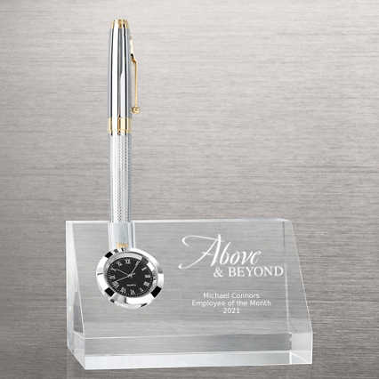 Contemporary Crystal Desktop Clock with Pen Holder