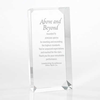 Crystal Block Trophy - Clear