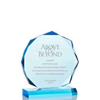 Sky Blue Acrylic Trophy - Beveled Octagon