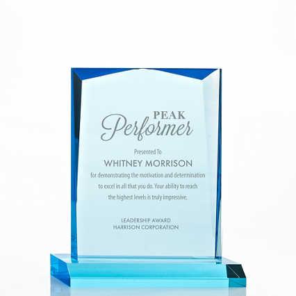 Sky Blue Acrylic Trophy - Beveled Rectangle