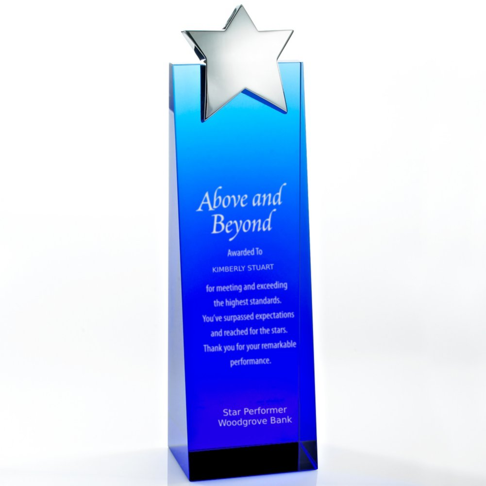 View larger image of Trophy - Blue Crystalline Tower - Star