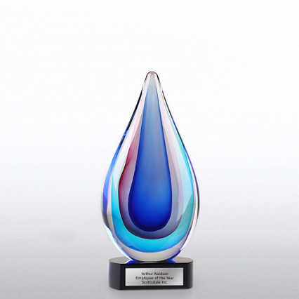 Art Glass Trophy - Blue, Pink and Aqua Teardrop