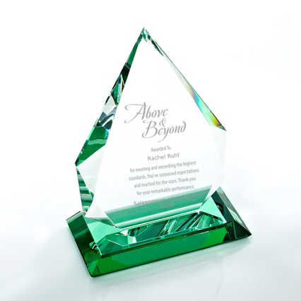 Color Splash Crystal Trophy - Green