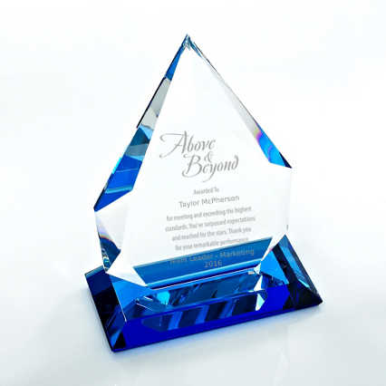 Blue Luminary Crystal Trophy - Blue Tear Drop
