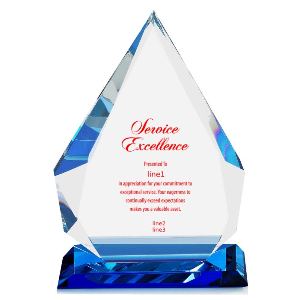 Blue Luminary Crystal Trophy - Blue Tear Drop