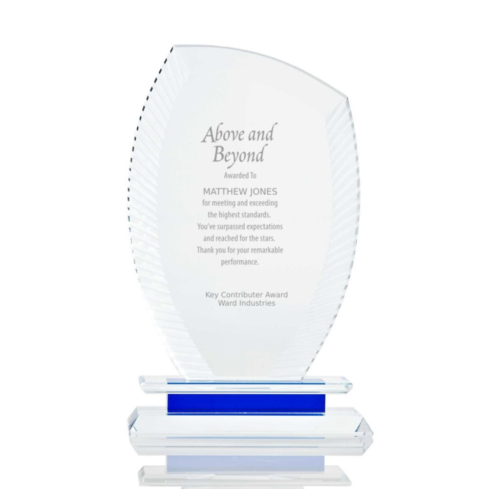 View larger image of Etched Crystal Trophy with Blue Accent - Wisp