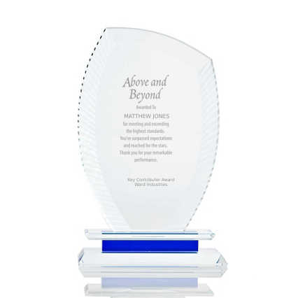 Etched Crystal Trophy with Blue Accent - Wisp