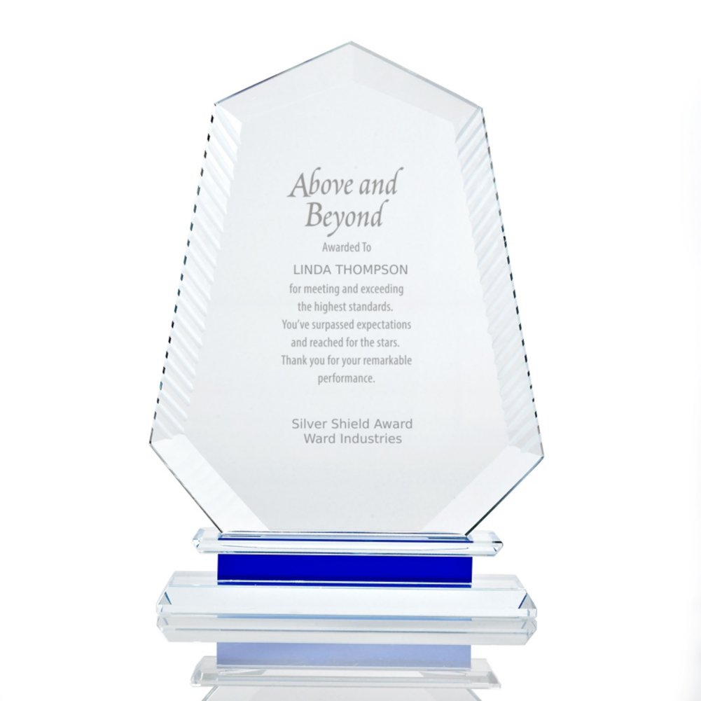 View larger image of Etched Crystal Trophy with Blue Accent - Peak
