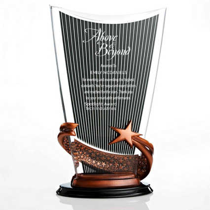 Striped Acrylic Trophy with Rustic Star Base - Shield