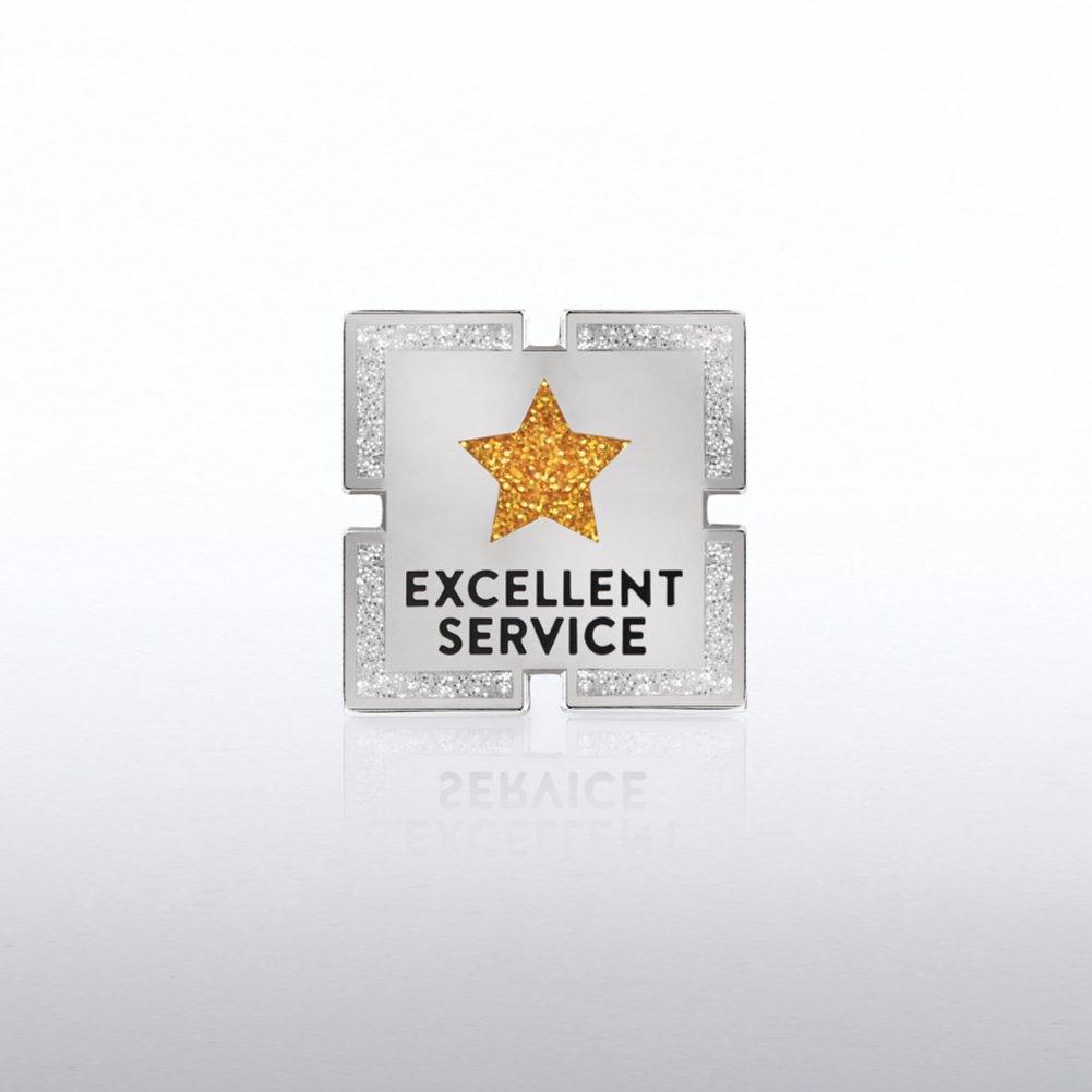 Lapel Pin - Excellent Service Glitter Star