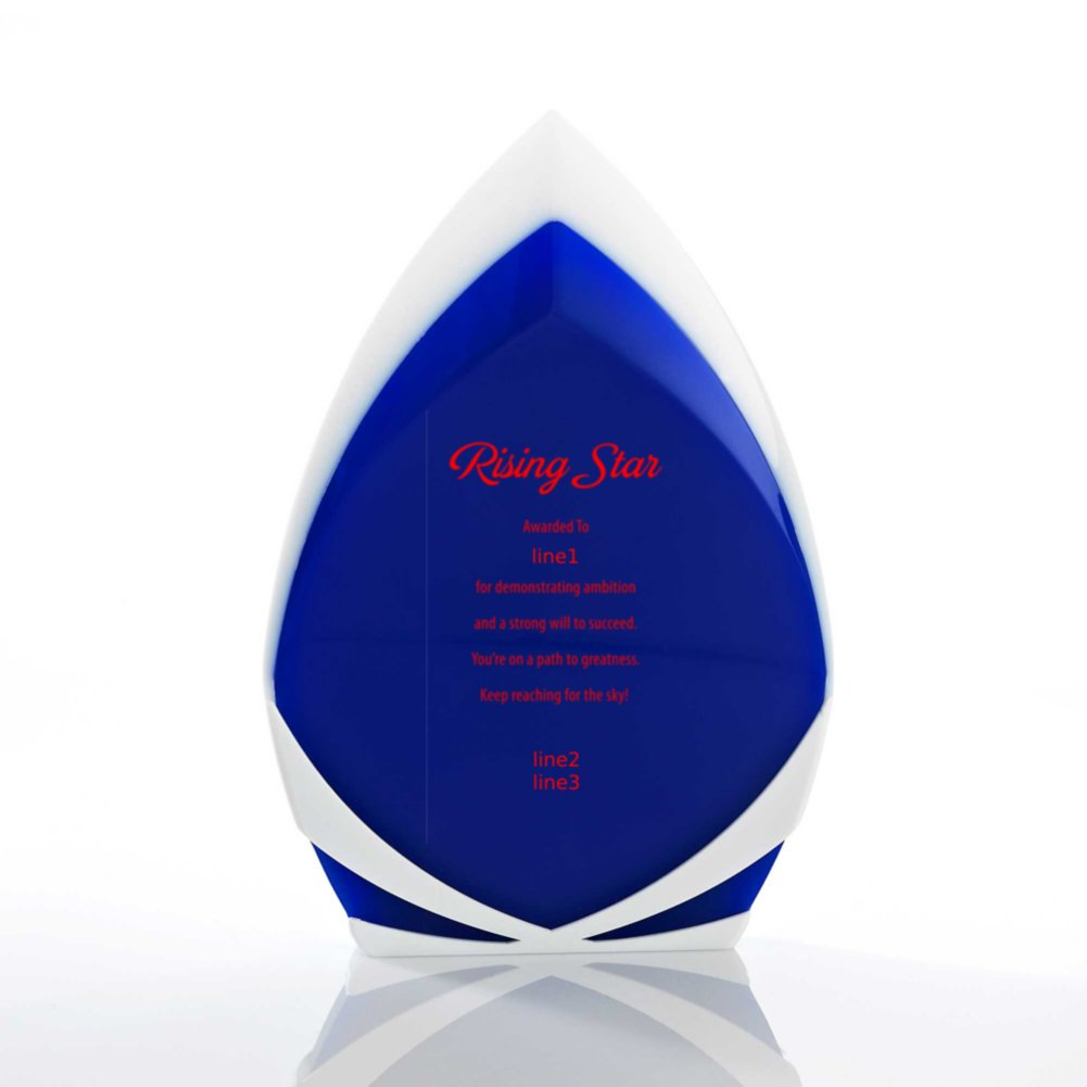 White and Blue Color Block Acrylic Trophy - Peak