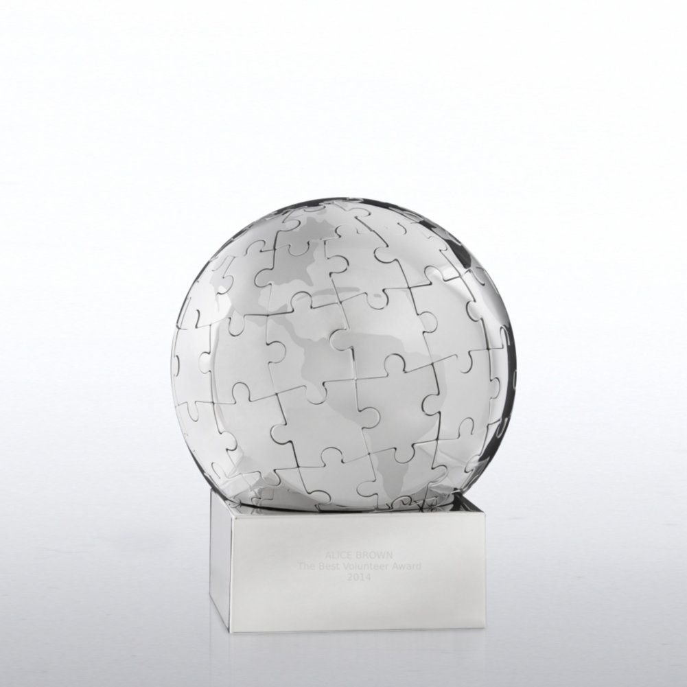 View larger image of Puzzle Globe Trophy - You Make a World of Difference