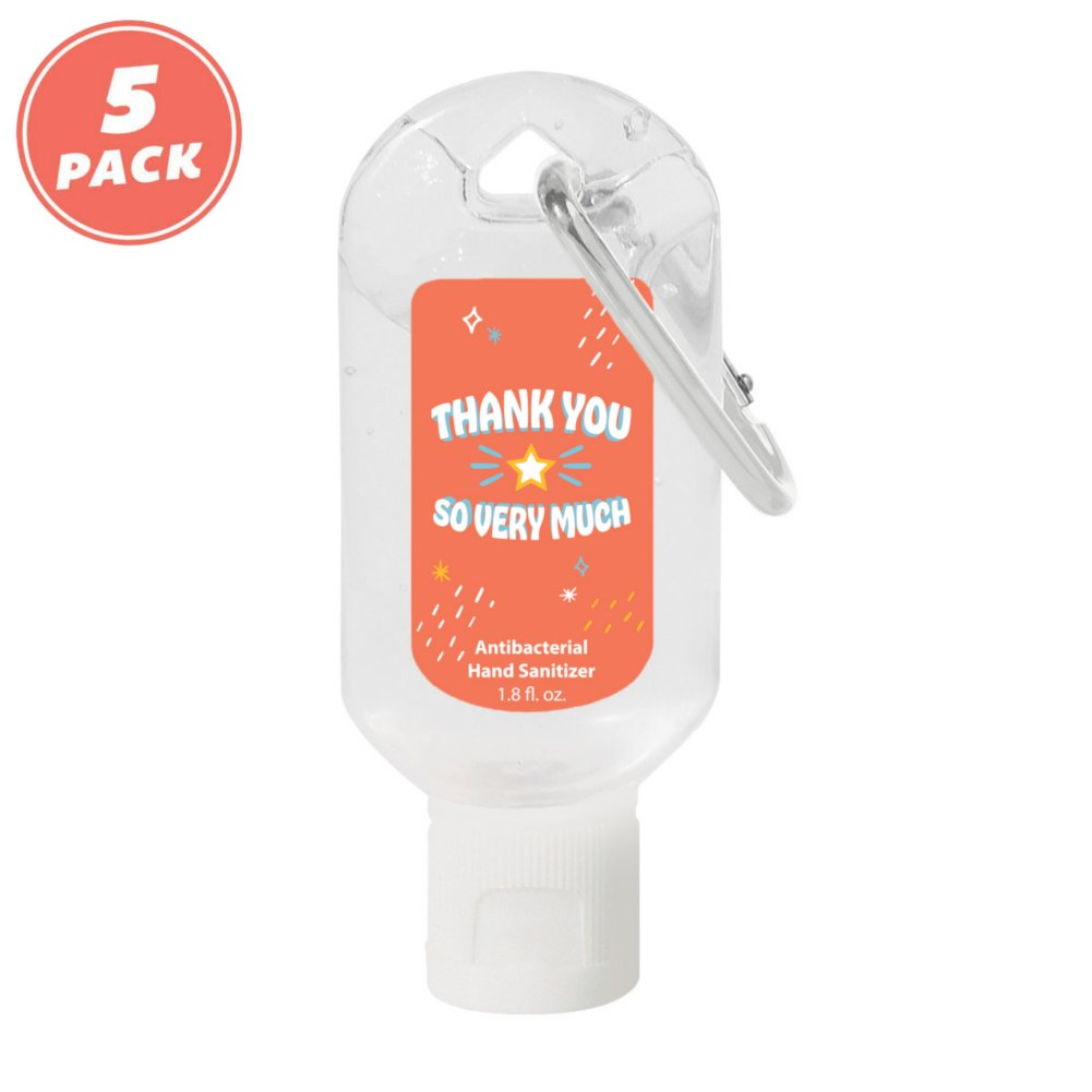View larger image of On the Move Carabiner Hand Sanitizer - 5pk - Thank You