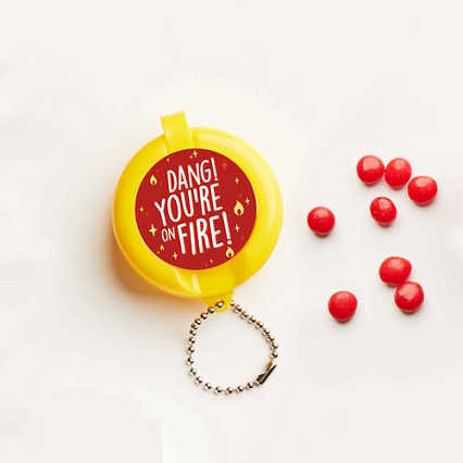 Flip-Top Candy Keychain - On Fire