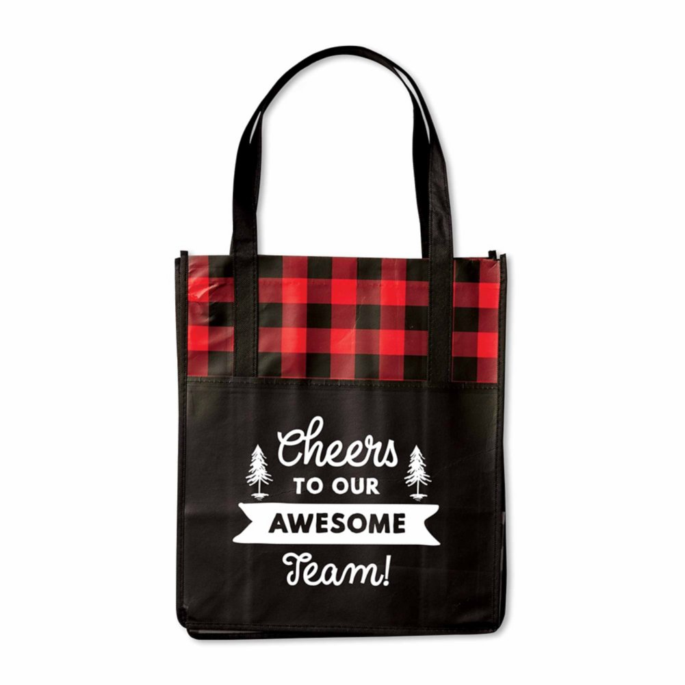 View larger image of Perfectly Plaid Shopper Tote - Cheers!