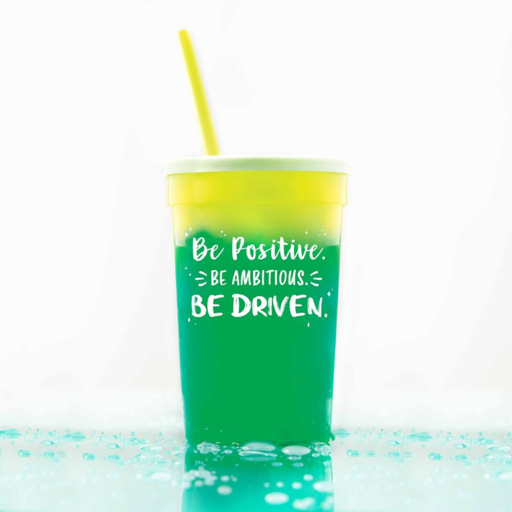 View larger image of Stadium Color Changing Cup - Be Positive