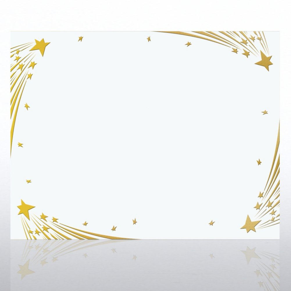 View larger image of Foil Certificate Paper - Shooting Stars - White