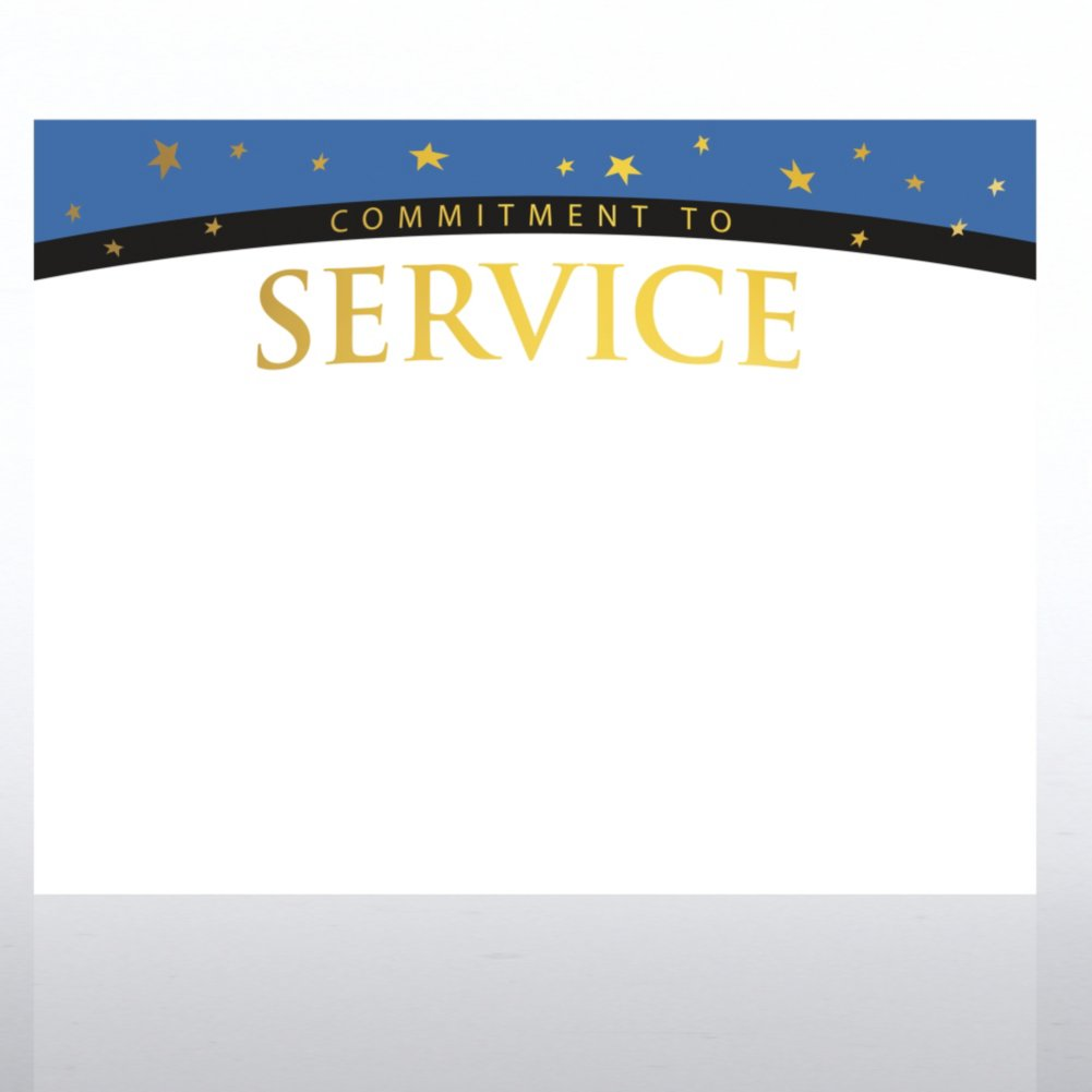 Foil Certificate Paper - Commitment to Service