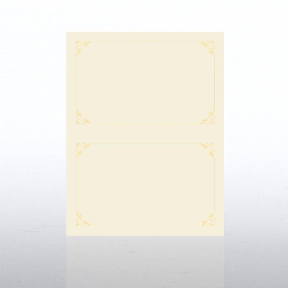 Foil Certificate Paper - Half-Size - Ornament - Cream