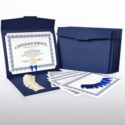 Certificate Paper Bundle - Royal Blue Scallop