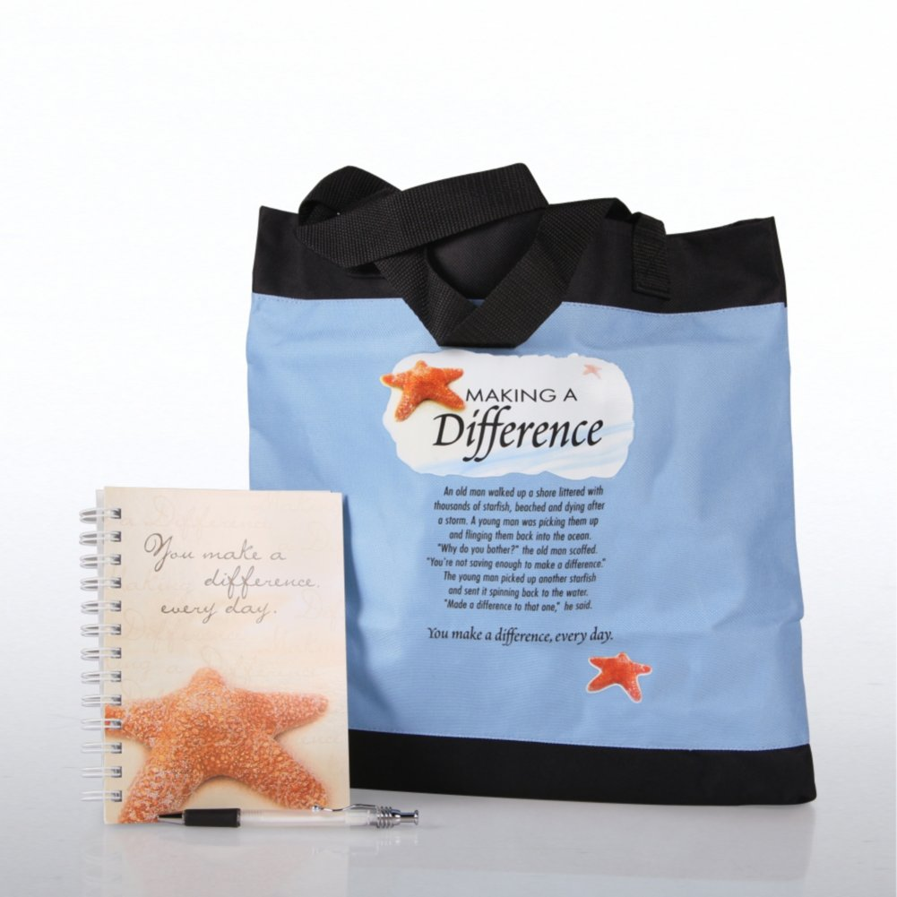 Journal, Pen, & Tote Gift Set Starfish: Making a Difference