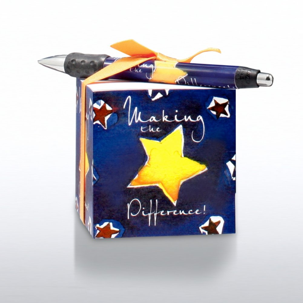 View larger image of Note Cube & Pen Gift Set - Making the Difference