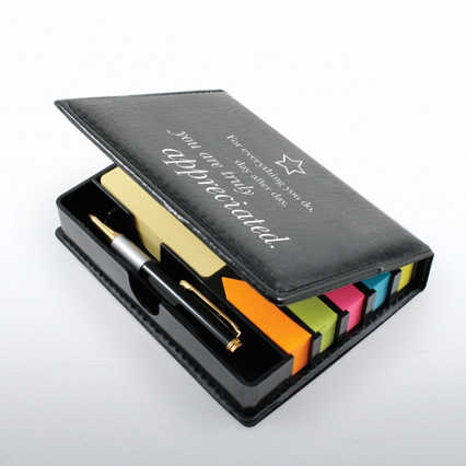 Flip Top Note Holder w/ Pen & Calendar - Truly Appreciated