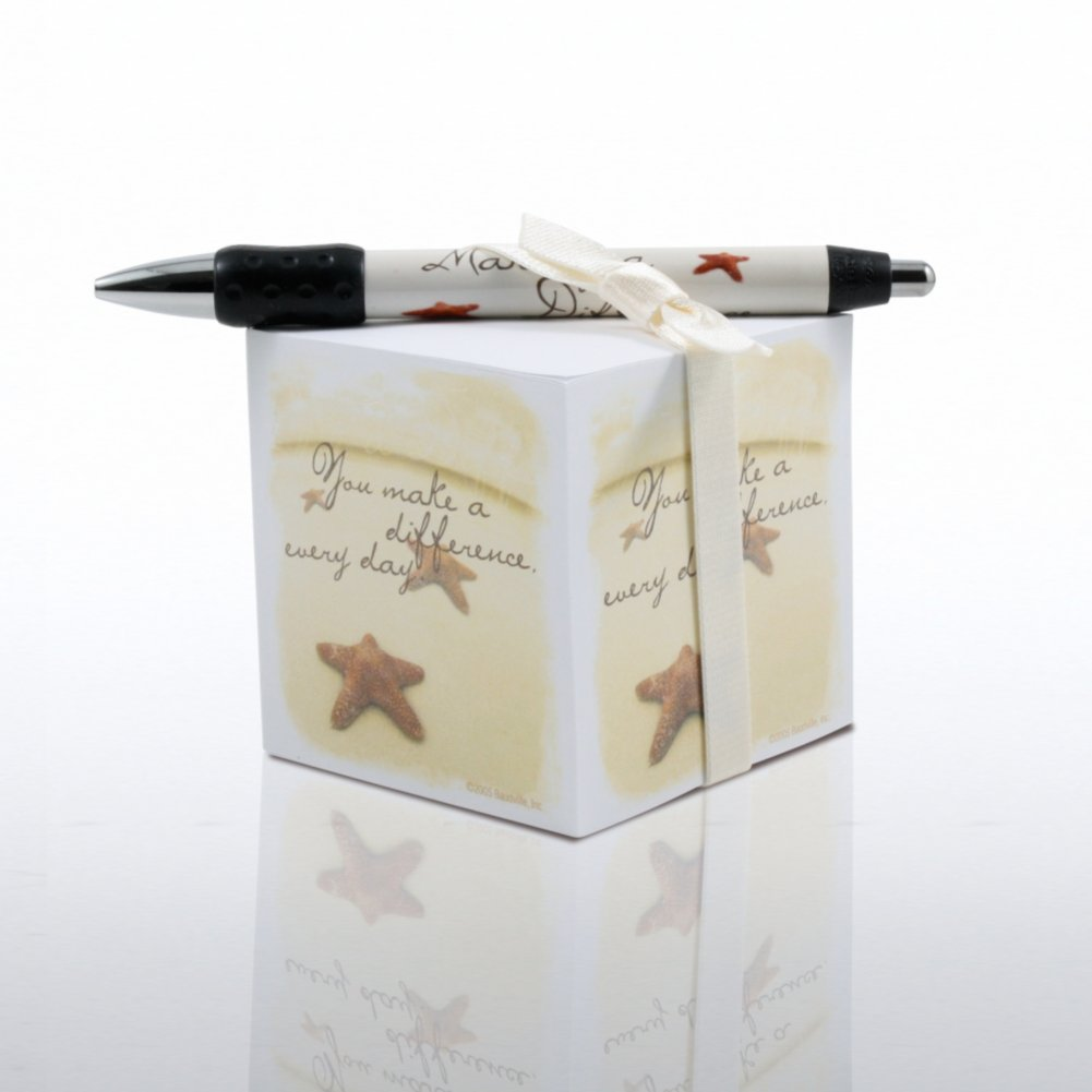 View larger image of Note Cube & Pen Gift Set - Starfish: Making the Difference
