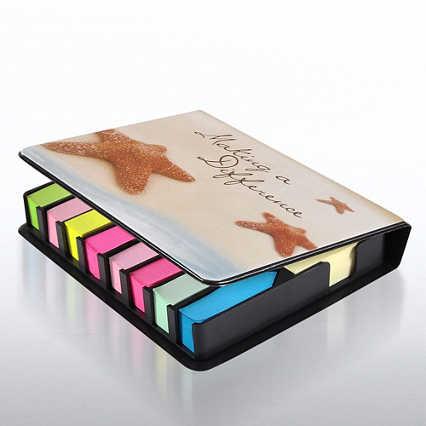 Flip Top Sticky Note Holder w/ Calendar - Starfish