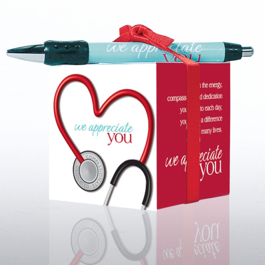 View larger image of Note Cube & Pen Gift Set - Stethoscope: We Appreciate You
