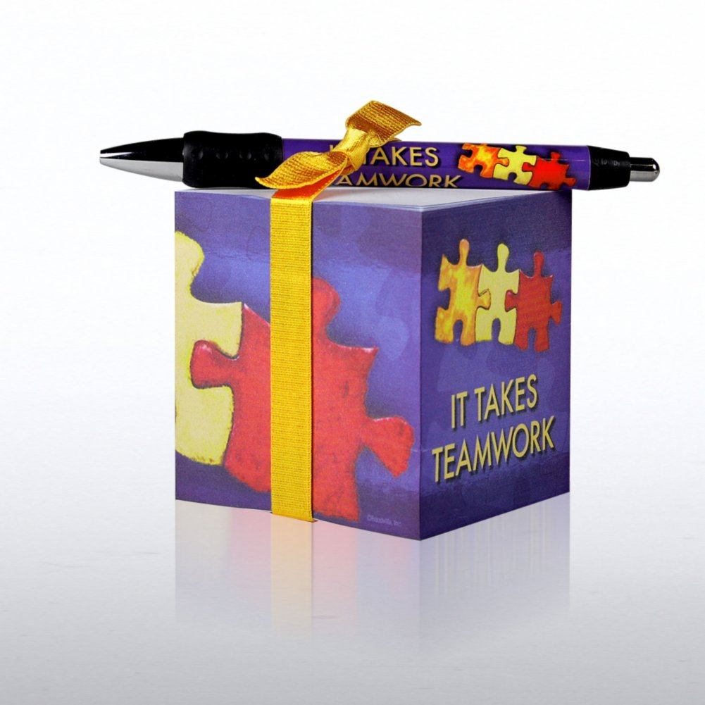 View larger image of Note Cube & Pen Gift Set - It Takes Teamwork