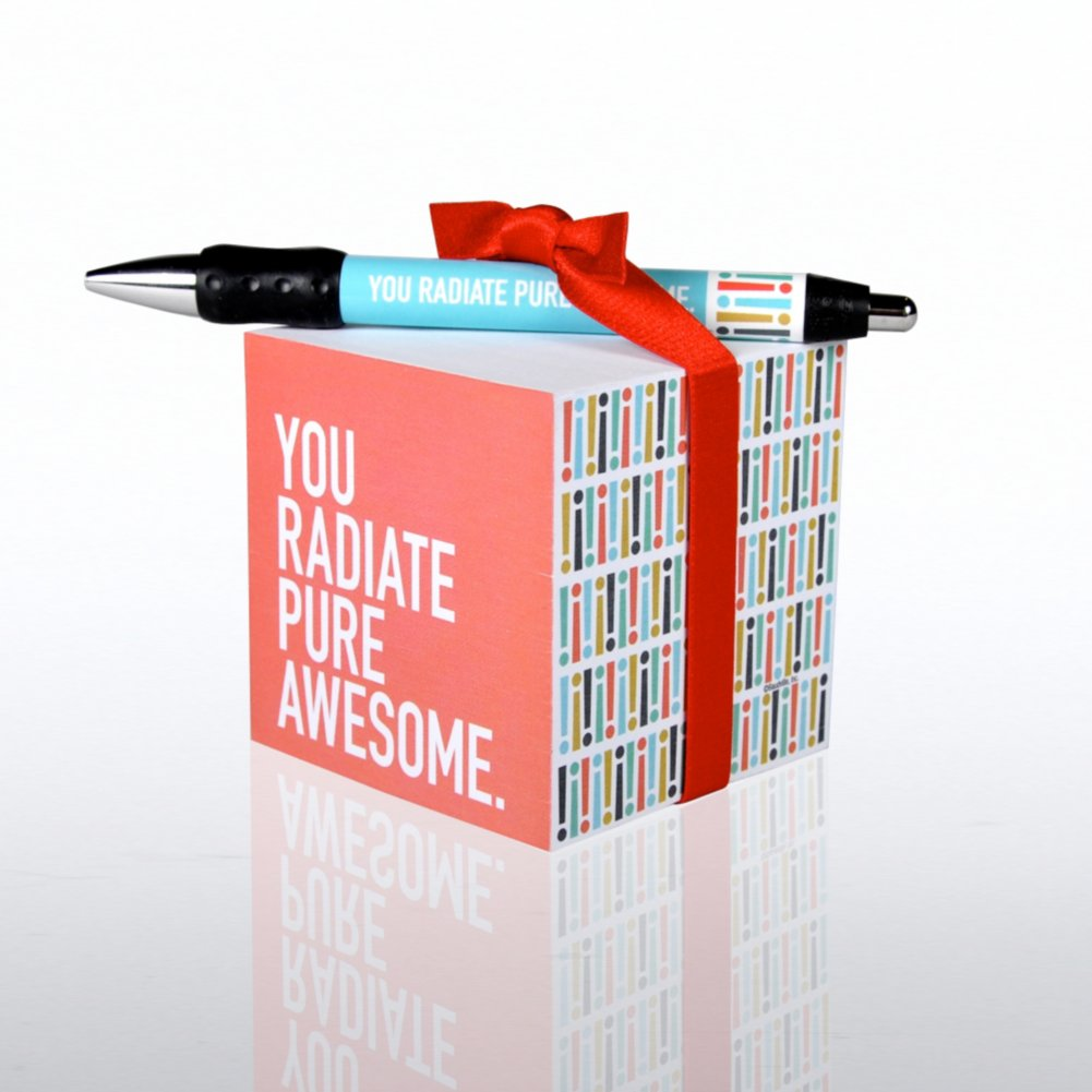 View larger image of Note Cube & Pen Gift Set - Exclamations- Pure Awesome