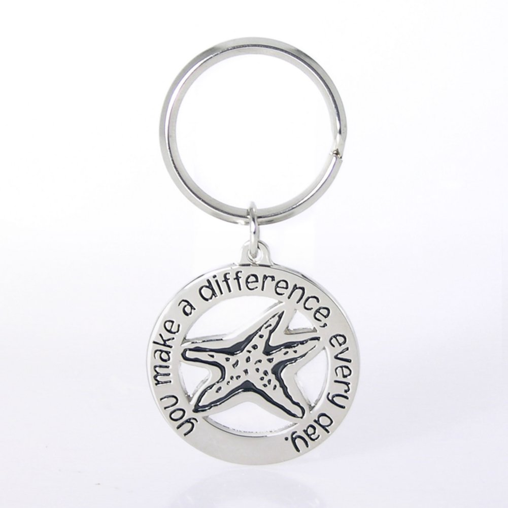 Nickel-Finish Key Chain - You Make a Difference Every Day