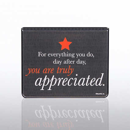 Flip Top Sticky Note Holder w/ Calendar - Truly Appreciated