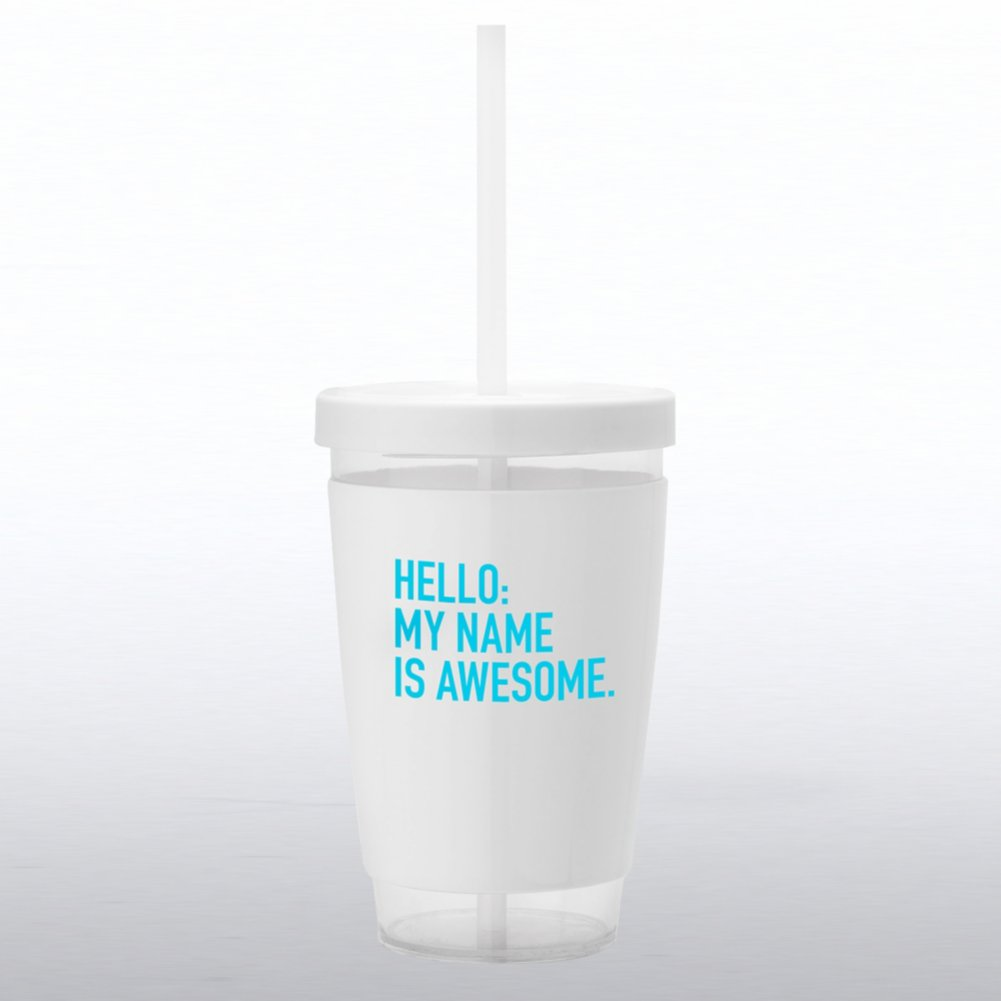 View larger image of Fresh Sips Value Tumbler - Hello: My Name Is Awesome
