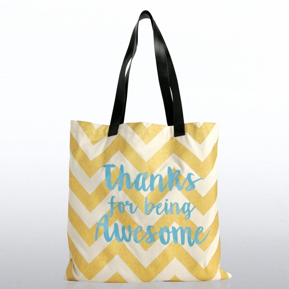 View larger image of Metallic Tote Bag - Thanks for Being Awesome